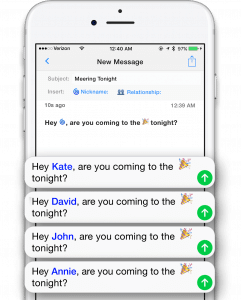 Personalizing name template feature in Reach app. Text messaging for teachers